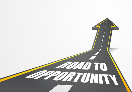 opportunity sign: detailed illustration of a highway road going up as an arrow with road to opportunity text, eps10 vector