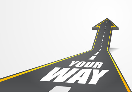 detailed illustration of a highway road going up as an arrow with your way text, eps10 vector Vector