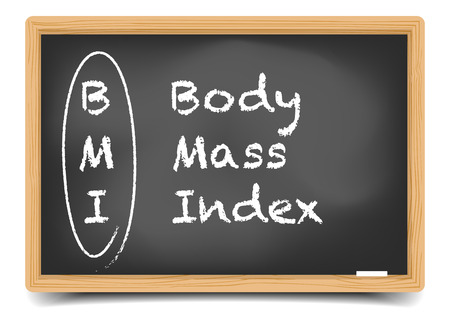 explanation: detailed illustration of a blackboard with a BMI abbrevation explanation,  Illustration
