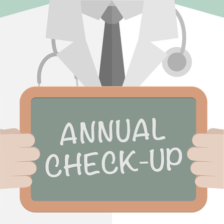 checkup: minimalistic illustration of a doctor holding a blackboard with annual check-up text,