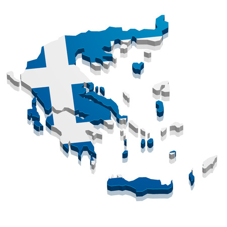 continental: detailed illustration of a map of greece with flag