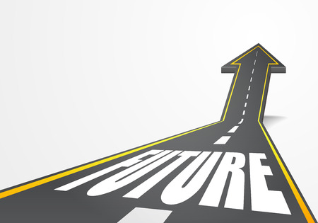 vision futuro: ilustración detallada de un camino de la carretera que sube como una flecha con el texto futuro,