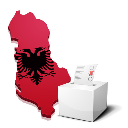 continental: detailed illustration of a ballotbox in front of a map of Albania