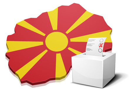 electing: detailed illustration of a ballotbox in front of a map of Macedonia,