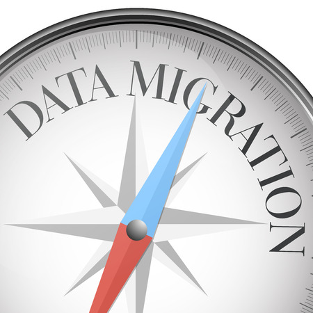 migration: detailed illustration of a compass with data migration text,