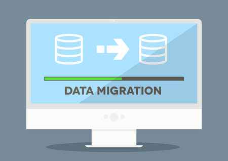 minimalistic illustration of a monitor with data migration progress screen, Vectores