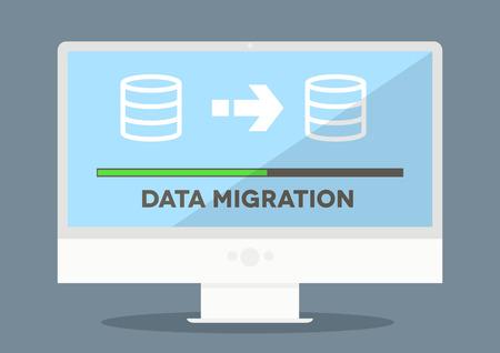 migraci�n: ilustraci�n minimalista de un monitor con pantalla de progreso de migraci�n de datos, Vectores