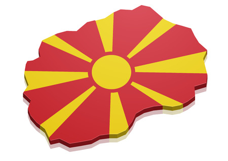 macedonia: detailed illustration of a map of Macedonia with flag,