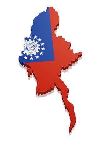 dictature: illustration d�taill�e d'une carte du Myanmar avec le drapeau,