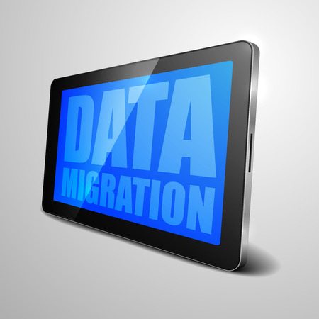 migrate: detailed illustration of a tablet computer device with Data Migration text on the screen,