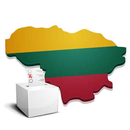 continental: detailed illustration of a ballot box in front of a map of Lithuania