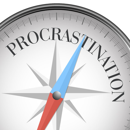 postpone: detailed illustration of a compass with procrastination text, eps10 vector Illustration