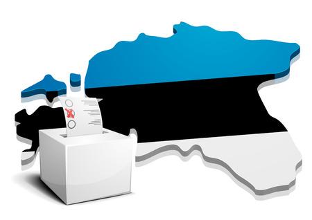estonia: detailed illustration of a ballot box in front of a map of Estonia Illustration