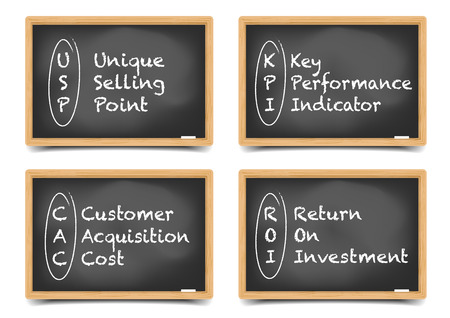 explanations: detailed illustration of different blackboards with business terms explanations Illustration