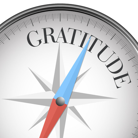 gratitudine: illustrazione dettagliata di una bussola con testo gratitudine