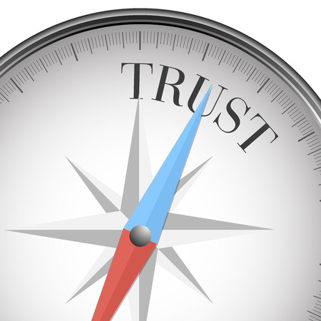 trust concept: detailed illustration of a compass with trust text