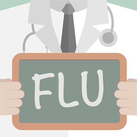 resfriado comun: ilustraci�n minimalista de un m�dico sosteniendo una pizarra con el texto de la gripe Vectores