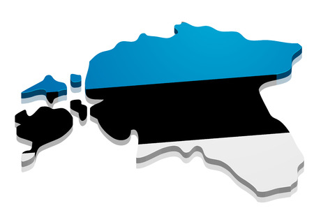 detailed illustration of a map of Estonia with flag