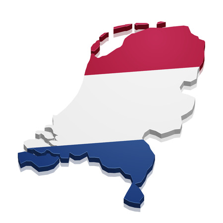 detailed illustration of a map of the Netherlands with flag