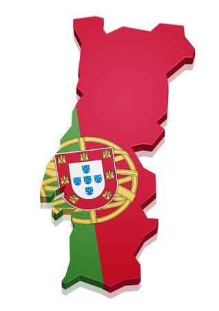 continental: detailed illustration of a map of Portugal with flag