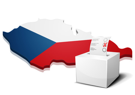 continental: detailed illustration of a ballotbox in front of a map of Czech, Illustration
