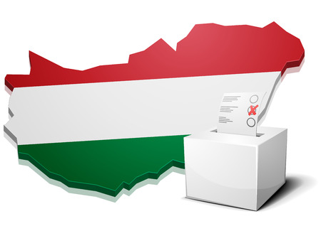 detailed illustration of a ballotbox in front of a map of Hungary,  Illustration