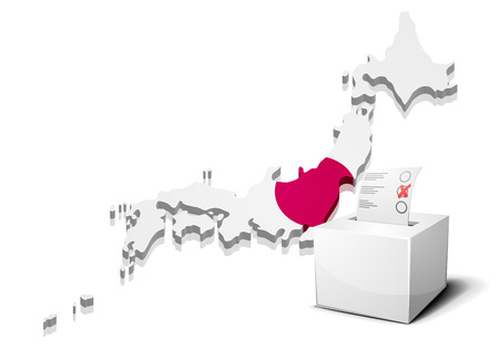 detailed illustration of a ballotbox in front of a map of Japan, Vector