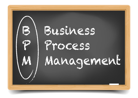 bpm: detailed illustration of a blackboard with BPM business term explanation, gradient mesh included