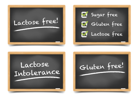 checkboxes: detailed illustration of a set of blackboards with sugar, gluten, lactose free text and checkboxes,  gradient mesh included Illustration