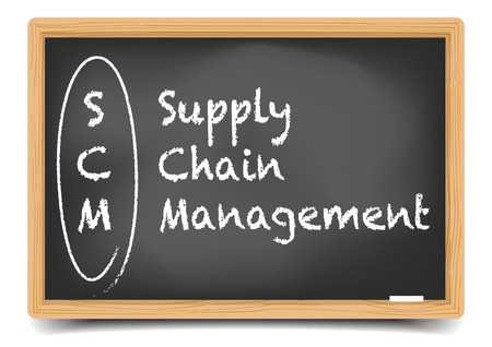 scm: detailed illustration of a blackboard with SCM business term explanation, gradient mesh included