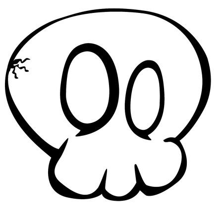 calavera caricatura: simple ilustraci�n de bosquejo cr�neo de la historieta, Vectores