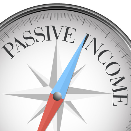 passive income: detailed illustration of a compass with passive income,
