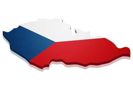 detailed illustration of a map of Czech with flag, Vector