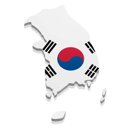 korea map: detailed illustration of a map of South Korea with flag,