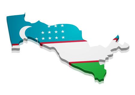 oezbekistan: gedetailleerde illustratie van een kaart van Oezbekistan met vlag, Stock Illustratie
