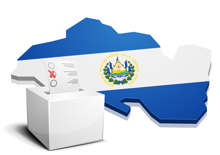 el salvador: detailed illustration of a ballotbox in front of a map of El Salvador, eps10 vector
