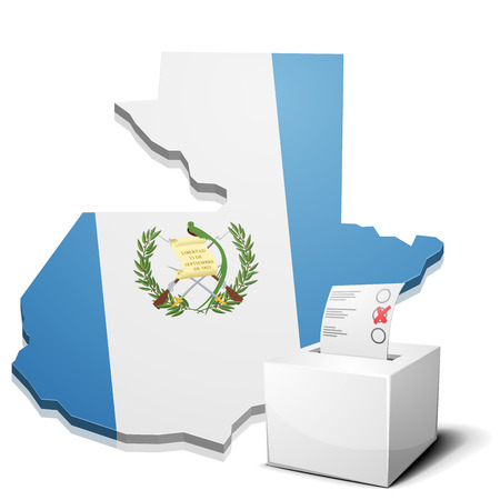 guatemala: detailed illustration of a ballotbox in front of a map of Guatemala, eps10 vector Illustration