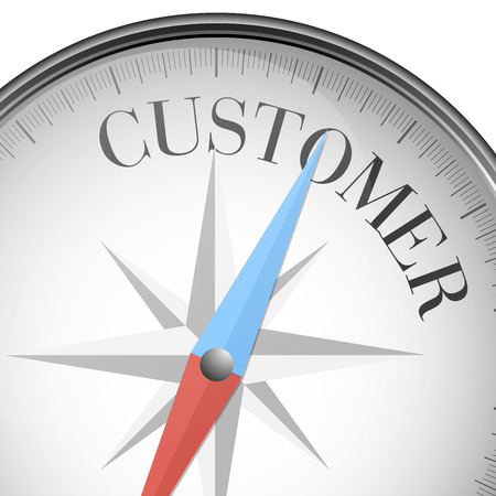 customer focus: detailed illustration of a compass with customer text, eps10 vector