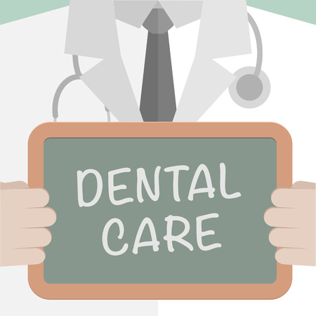 doctor vector: minimalistic illustration of a doctor holding a blackboard with dental care text, eps10 vector Illustration