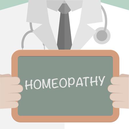 homeopatia: ilustración minimalista de un médico sosteniendo una pizarra con el texto homeopatía, vector eps10