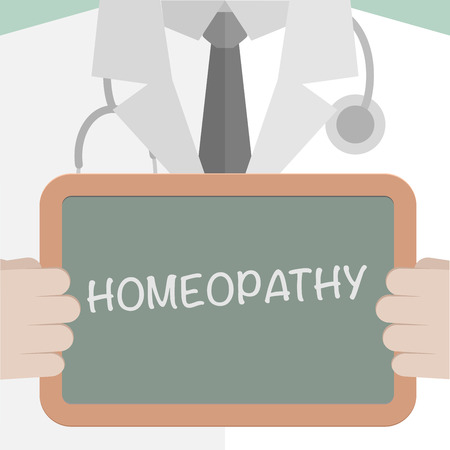medicare: minimalistic illustration of a doctor holding a blackboard with homeopathy text, eps10 vector Illustration