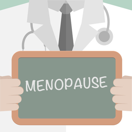 menopause: minimalistic illustration of a doctor holding a blackboard with Menopause text, eps10 vector