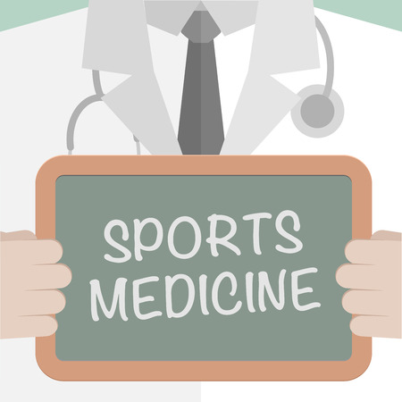 chiropractor: minimalistic illustration of a doctor holding a blackboard with sports medicine text, eps10 vector