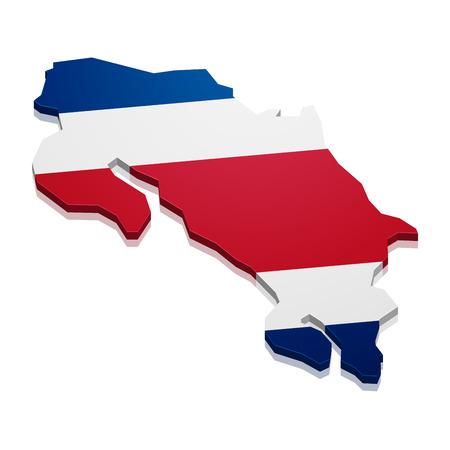 rican: ilustraci�n detallada de un mapa de Costa Rica con la bandera, vector eps10