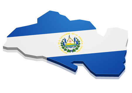 el salvador: detailed illustration of a map of El Salvador with flag, eps10 vector Illustration