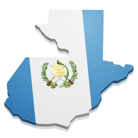 detailed illustration of a map of Guatemala with flag, eps10 vector Vectores