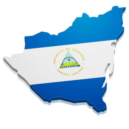 detailed illustration of a map of Nicaragua with flag, eps10 vector Vector