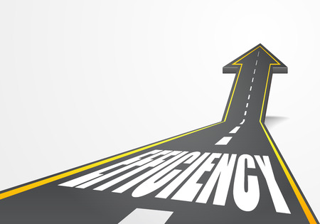 detailed illustration of a highway road going up as an arrow with Efficiency text, eps10 vector