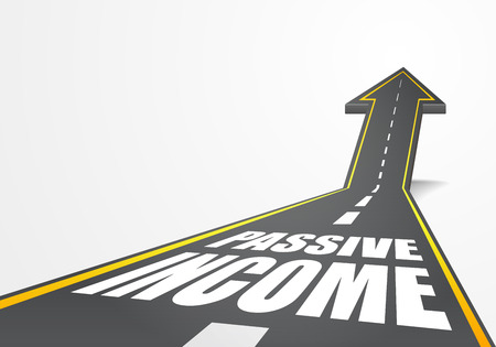 passive income: detailed illustration of a highway road going up as an arrow with Passive Income text, eps10 vector