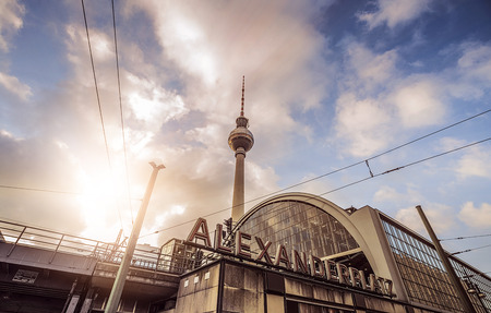 train station at Alexanderplatz in front of the tv tower, Berlin, Germany Editorial